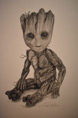 Baby Groot, Original 150.00$ Prints 15.00$ Unframed, 30.00$ Framed.