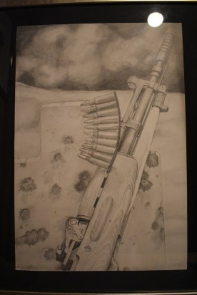 Original graphite drawing of Sks and steel target. 150.00$